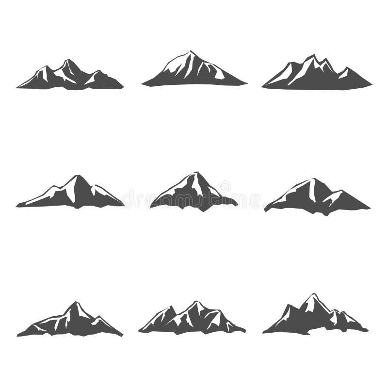Uppsättning nio av bergsymbolsvektorn stock illustrationer