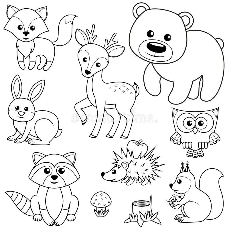 uppsättning nio av vektorn skissar Lura, uthärda, raccon-, hare-, hjort-, uggla-, igelkott-, ekorre-, agaric- och trädstubben Sva royaltyfri illustrationer