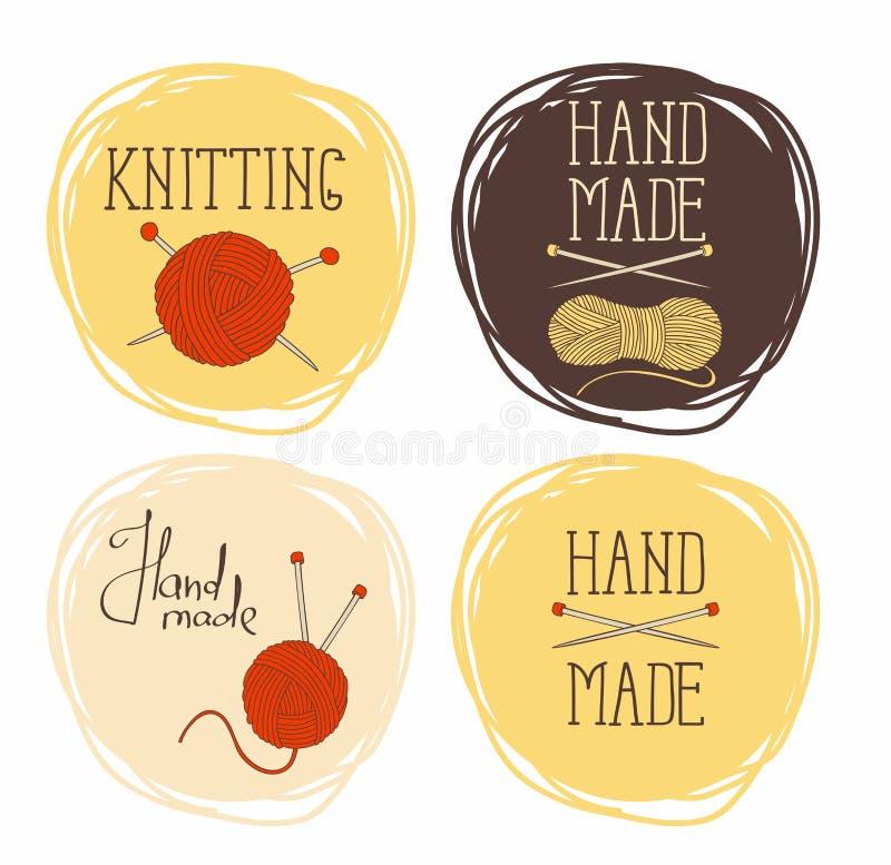 Uppsättning på temat av runda modeller av handarbete Det kan användas för klistermärkear och etiketter royaltyfri illustrationer