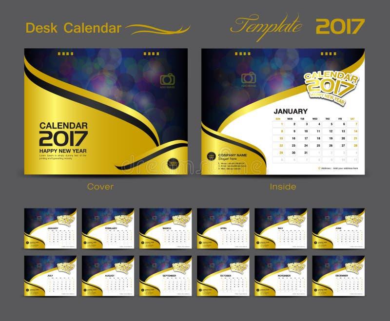 Uppsättning 2017, räkningsskrivbordkalender för design för mall för skrivbordkalender royaltyfri illustrationer