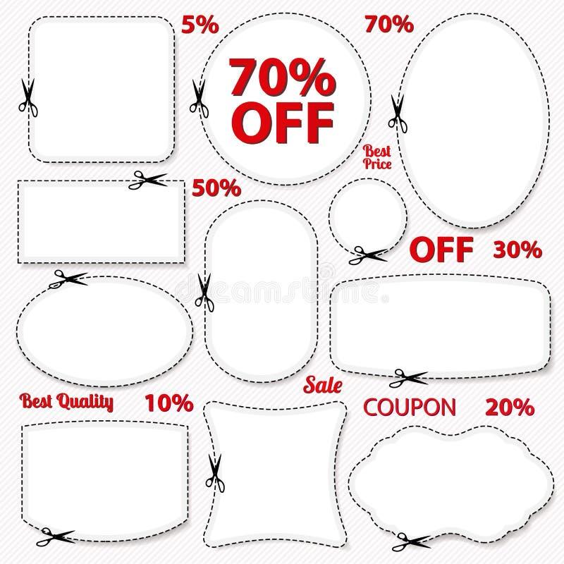 Uppsättning: Sale kupong, etiketter. Tom mall, sax royaltyfri illustrationer