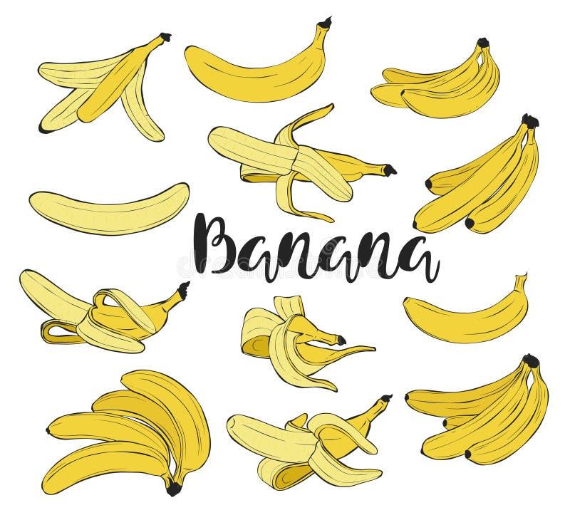 Uppsättning Skalad banan i peelen stock illustrationer