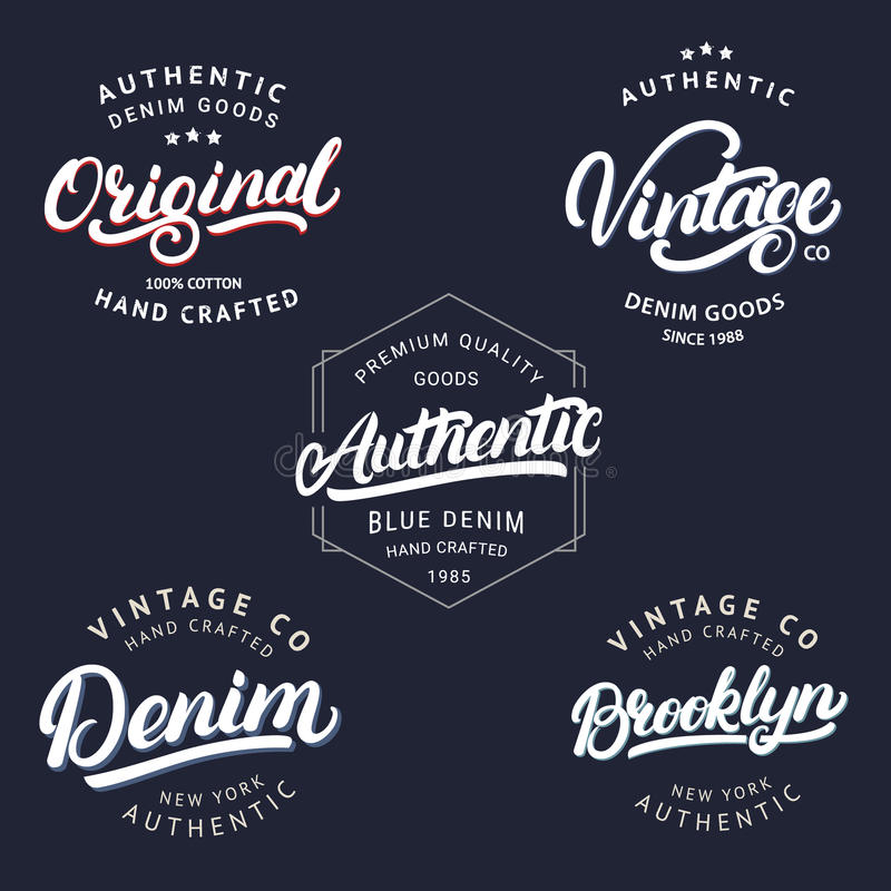 Uppsättning skriftlig bokstäver av för tappning, Brooklyn, för den grov bomullstvill, original- och autentisk handen för etikette royaltyfri illustrationer
