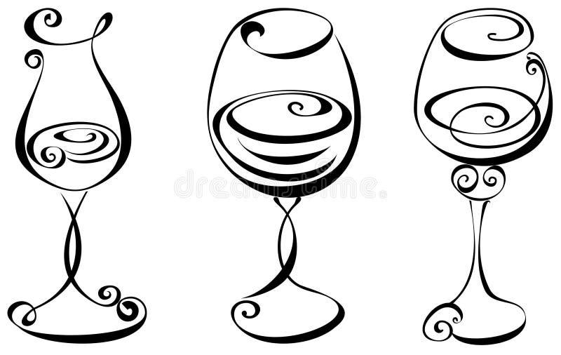 Uppsättning stylized wineexponeringsglas royaltyfri illustrationer