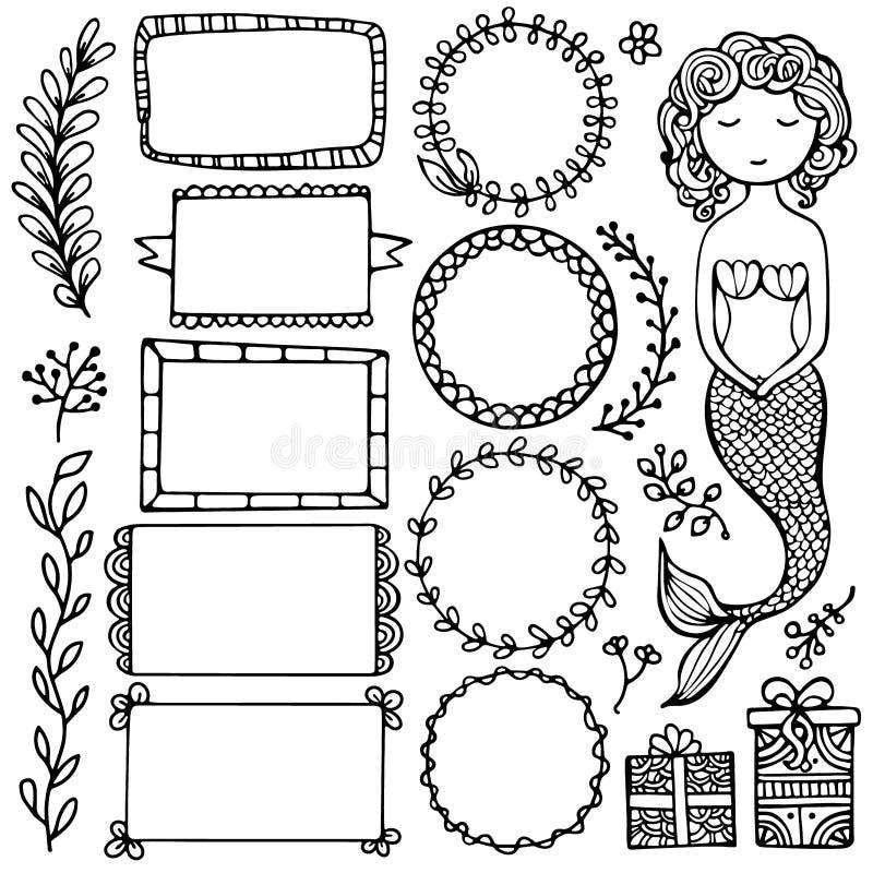 Uppsättning svarta dockningsramar och element för punktjournal, anteckningsbok, dagbok och planerare isolerade på vit bakgrund stock illustrationer