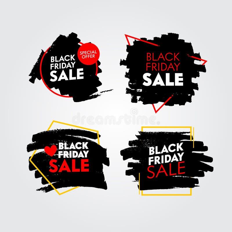 Uppsättning svarta fredagsförsäljningsbanderoller med Abstract Grungy Pattern Promo Post Design-mallar för marknadsföring av soci stock illustrationer