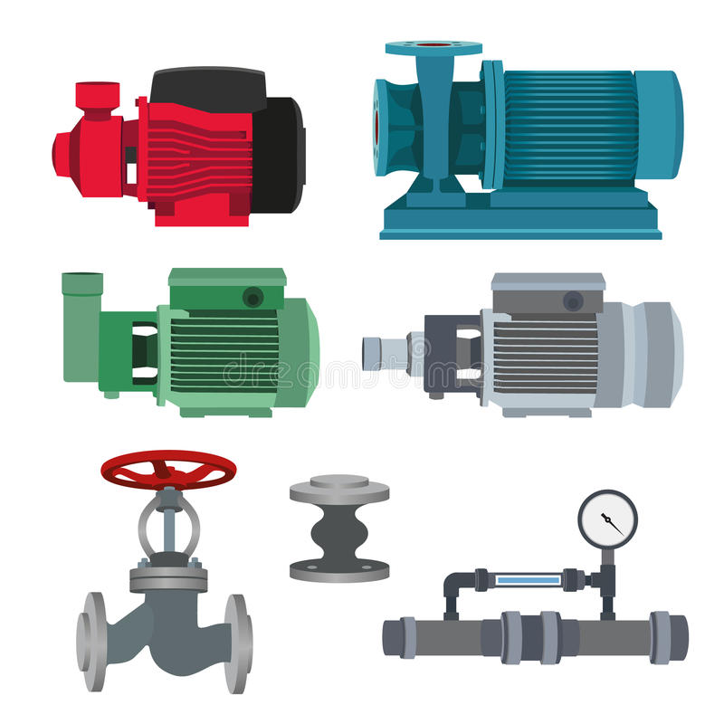 Uppsättning-vatten motor, pump, ventiler för rörledning vektor royaltyfri illustrationer