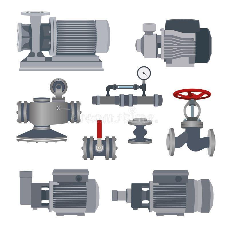 Uppsättning-vatten motor, pump, ventiler för rörledning vektor stock illustrationer