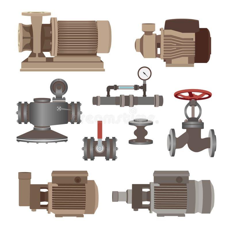 Uppsättning-vatten motor, pump, ventiler för rörledning vektor vektor illustrationer