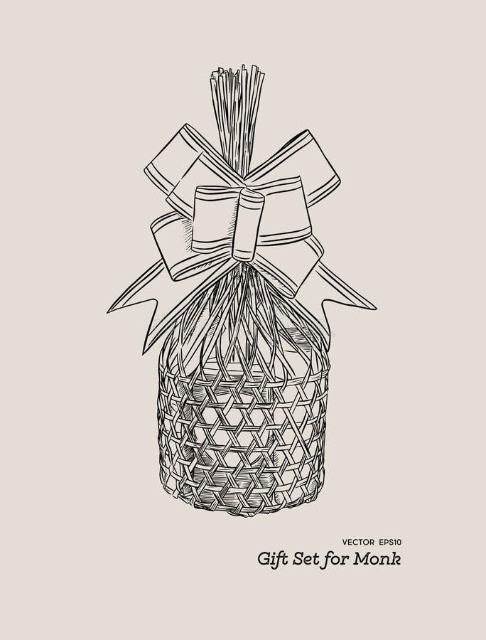 Uppsättningar av att konsumera objekt i en korg för att erbjuda som är hängivet till mo royaltyfri illustrationer