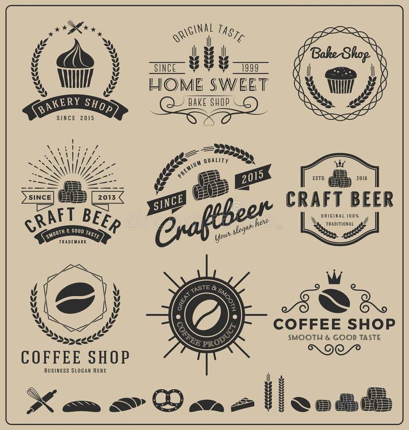 Uppsättningar av bakar shoppar, hantverköl, coffee shoplogoen och gradbeteckningen för att brännmärka stock illustrationer