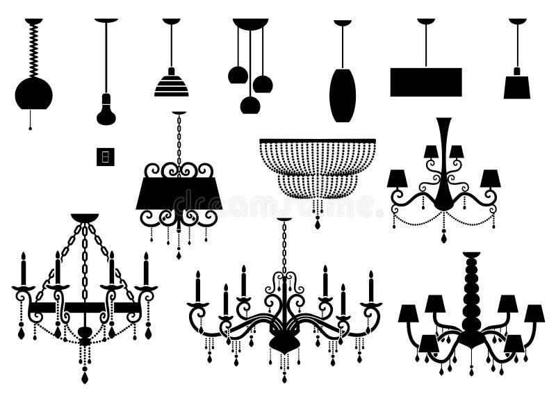 Uppsättningar av den konturljuskronan och lampan stock illustrationer