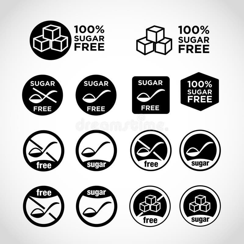 Uppsättningar av ized symboler för mat med socker och socker-fria foods royaltyfri illustrationer