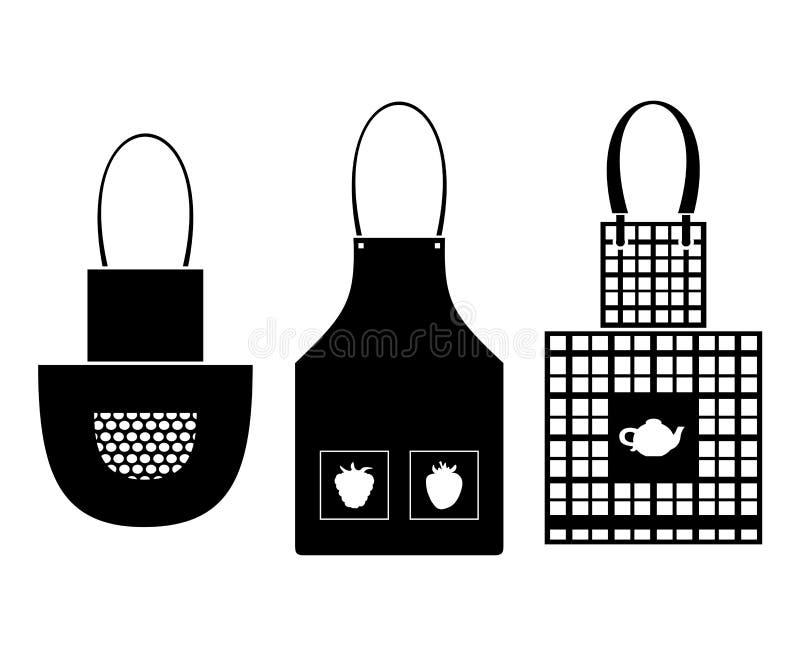 Uppsättningar av kökförkläden royaltyfri illustrationer