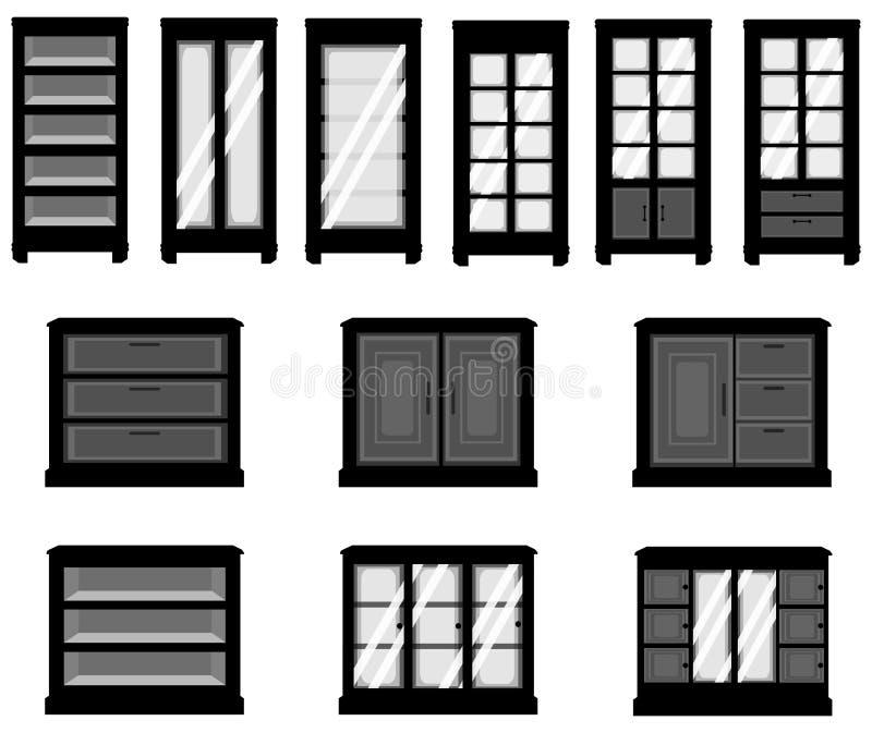 Uppsättningar av konturkabinetter, skapar vid vektorn vektor illustrationer
