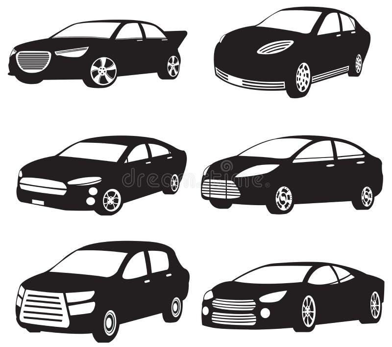 Uppsättningar av konturn av mina original- modellbilar royaltyfri illustrationer