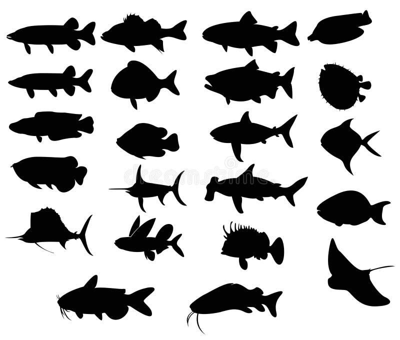 Uppsättningar av konturn fiskar 3 (vektorn) vektor illustrationer