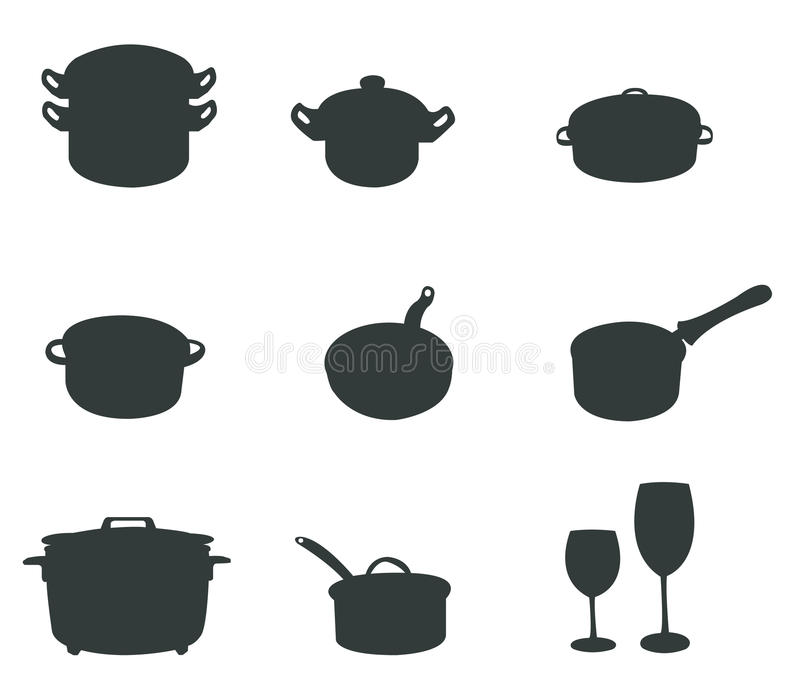 Uppsättningar av silhouettekök bearbetar 2 royaltyfri illustrationer