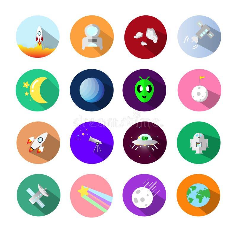 Uppsättningar för astronomisymbolssymbol, genom att använda för applikationvetenskapsconce vektor illustrationer