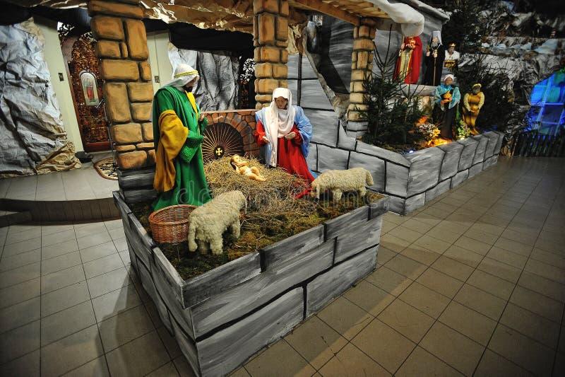 Uppsättningar för julKristi födelselathund arkivfoto