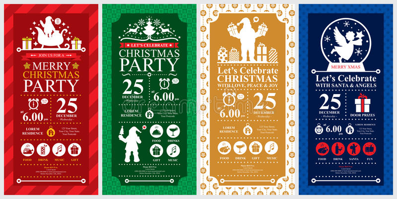 Uppsättningar för kort för inbjudan för julparti royaltyfri illustrationer