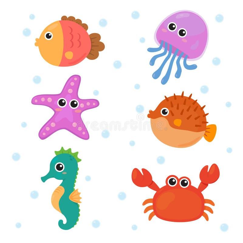 Uppsättningar för marin- djur stock illustrationer
