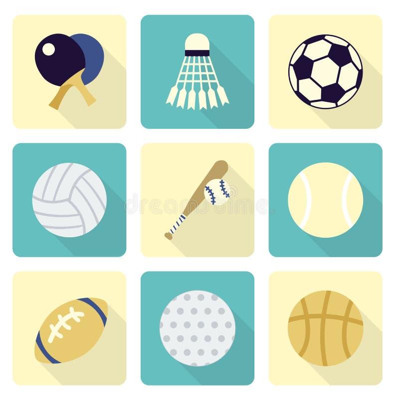 Uppsättningar för sportobjektsymbol, lägenhetdesign stock illustrationer
