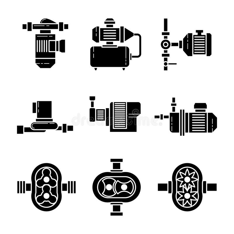 Uppsättningar för symboler för svart för vektor för vattenpump royaltyfri illustrationer