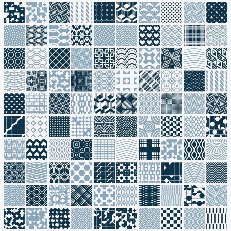Uppsättningen av ändlösa geometriska modeller för vektor komponerade med olikt royaltyfri illustrationer