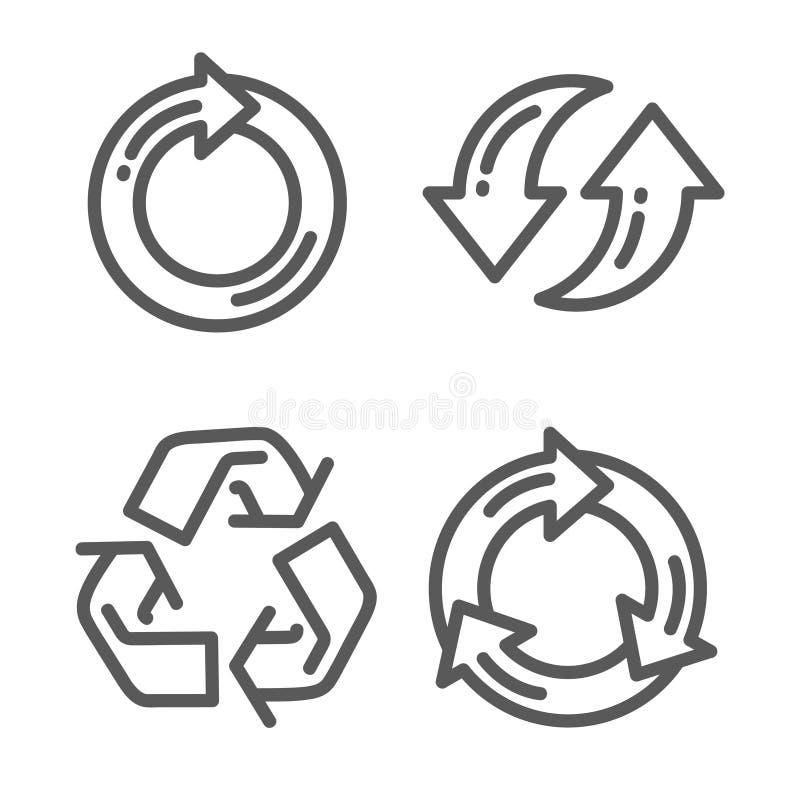 Uppsättningen av återanvänder den tunna linjen symbol för pilen vektor illustrationer