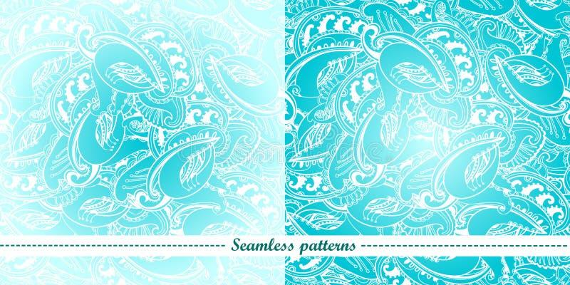Uppsättningen av 2 abstrakt seamless mönstrar stock illustrationer