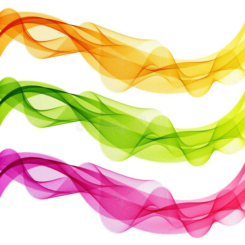 Uppsättningen av abstrakt begrepp isolerad guling, gräsplan, rosa färgvåg fodrar för Whit vektor illustrationer