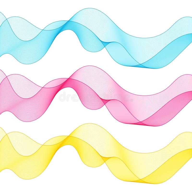 Uppsättningen av abstrakt begrepp isolerade blått, rosa färger, den gula vågen fodrar för vit stock illustrationer