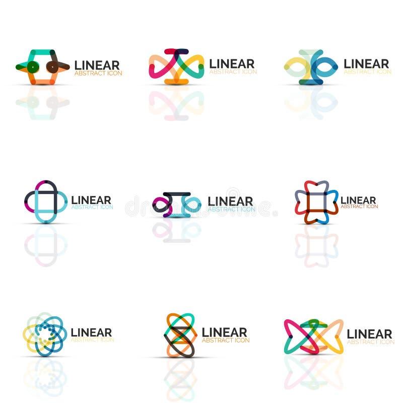 Uppsättningen av abstrakta minimalistic linjära symboler för blomma eller för stjärna, den tunna linjen geometriska plana symbole vektor illustrationer