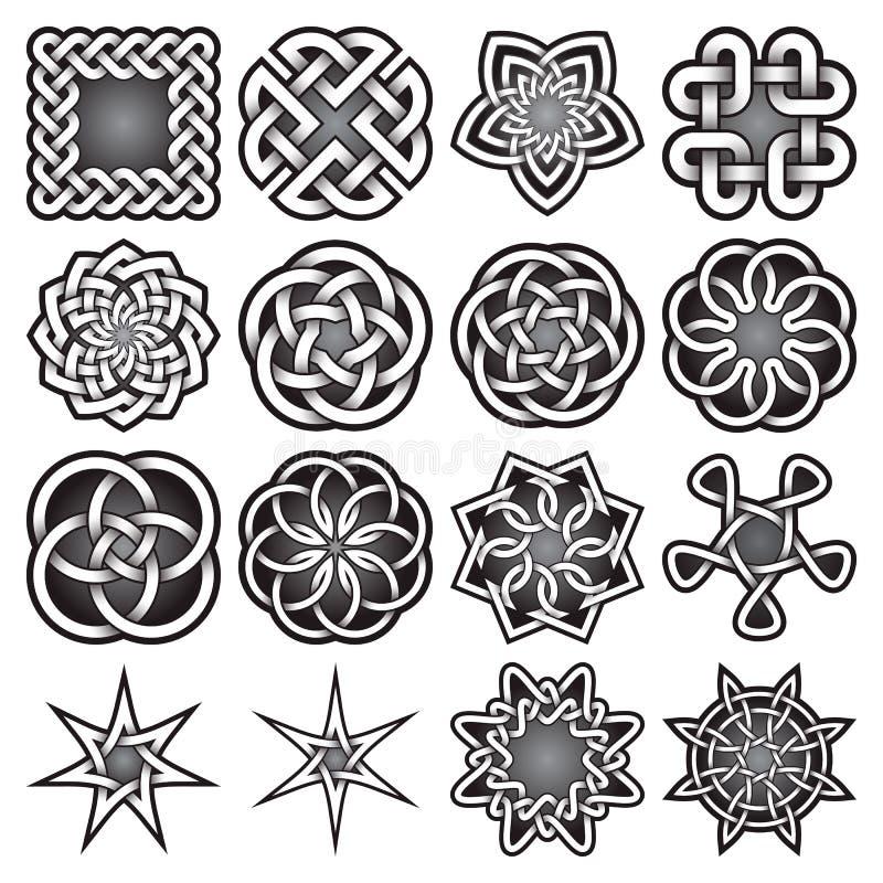 Uppsättningen av abstrakta sakrala geometrisymboler i keltiska fnuren utformar stock illustrationer