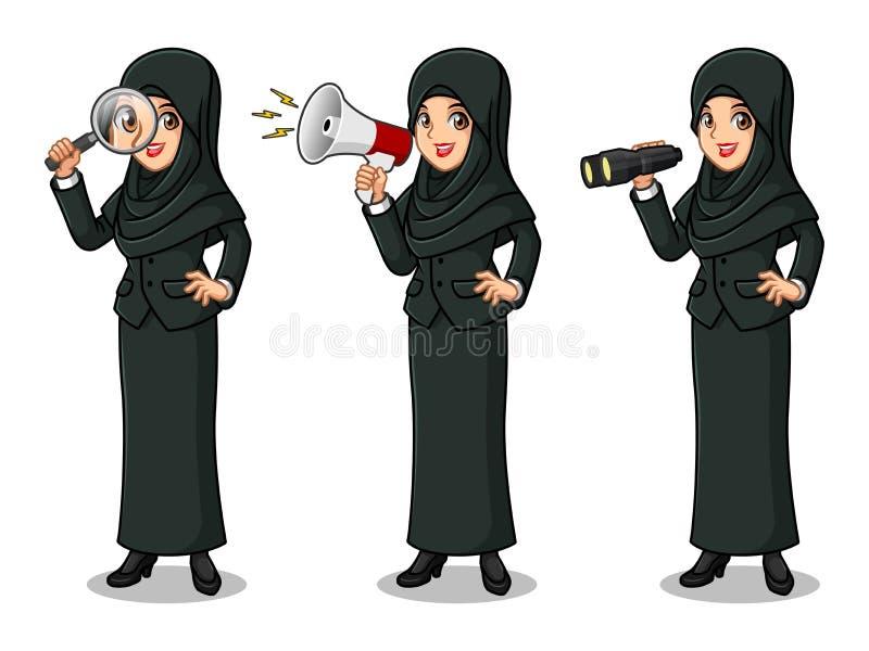 Uppsättningen av affärskvinnan i svart dräkt med skyler att söka efter poserar vektor illustrationer
