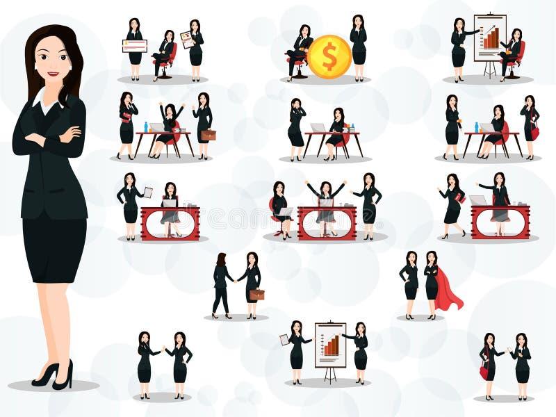 Uppsättningen av affärskvinnor i olikt arbete poserar och gör en gest vektor illustrationer