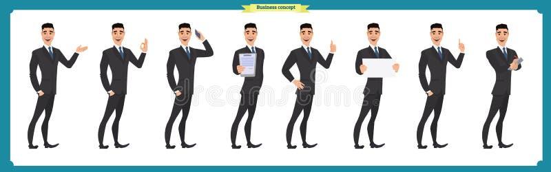 Uppsättningen av affärsmanteckenet poserar, gör en gest, handlingar, kroppbeståndsdelar Isolerat på vit royaltyfri illustrationer