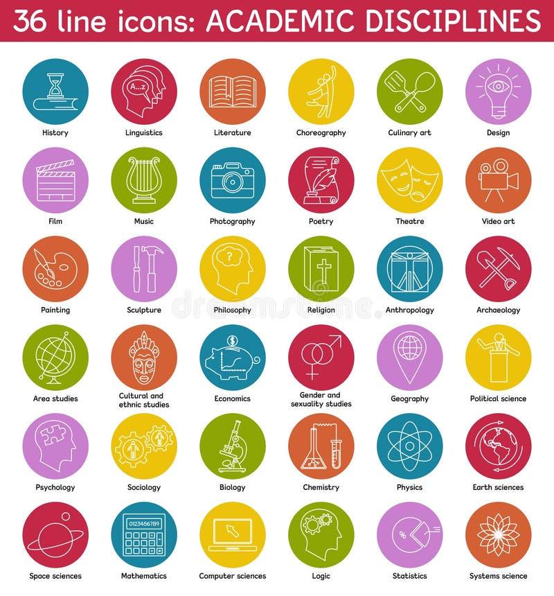 Uppsättningen av akademikern disciplinerar symboler royaltyfri illustrationer