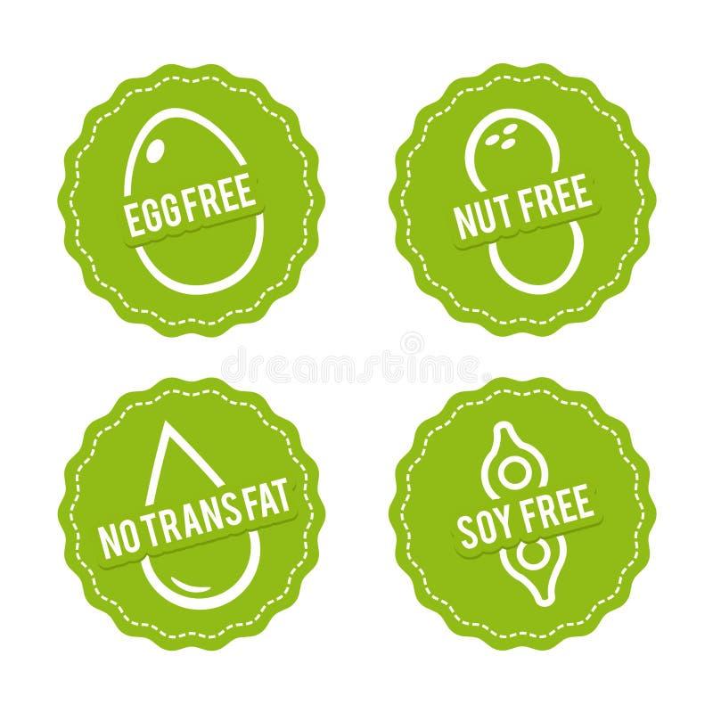 Uppsättningen av allergen frigör emblem Ägget frigör, den fria muttern, fri sojaböna, inget trans.-fett Dragit tecken för vektor  stock illustrationer