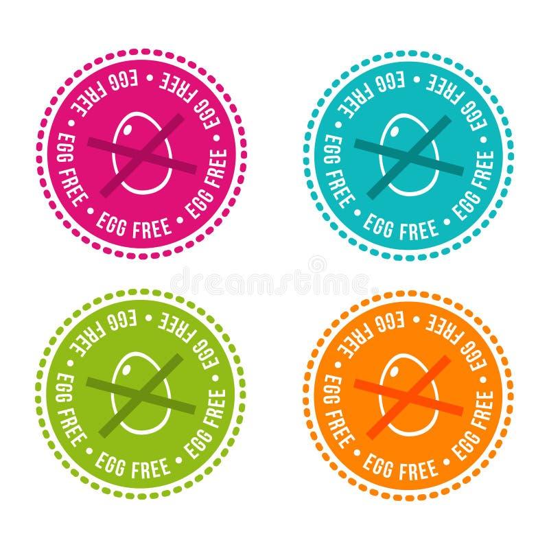 Uppsättningen av allergen frigör emblem Ägget frigör Dragit tecken för vektor hand Användas för kan att förpacka design royaltyfri illustrationer
