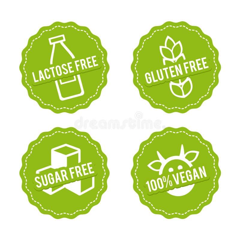 Uppsättningen av allergen frigör emblem Laktos frigör, fri gluten, sockrar fritt, strikt vegetarian 100% Dragit tecken för vektor vektor illustrationer