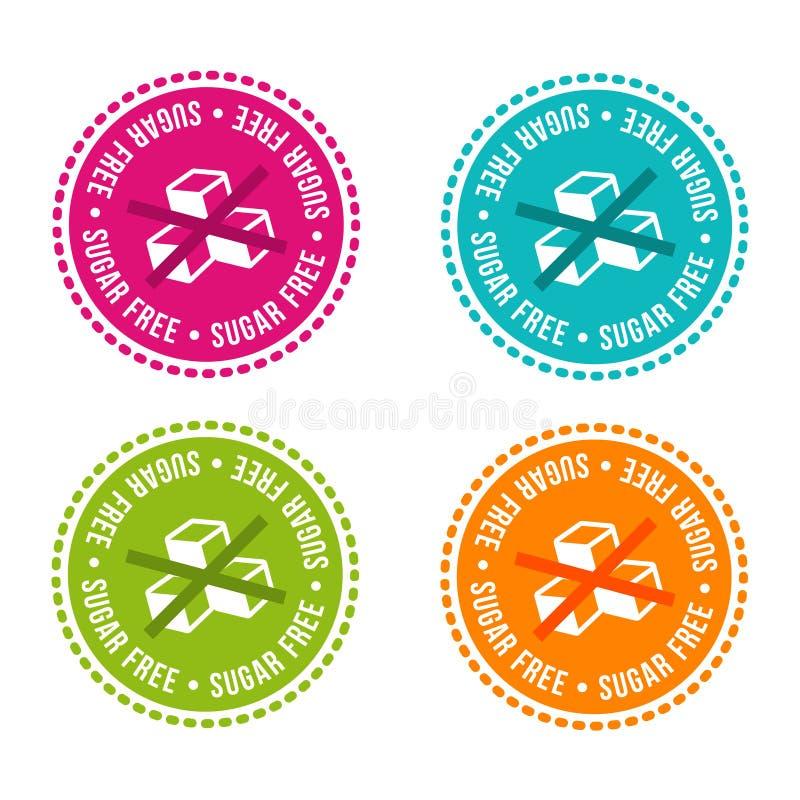 Uppsättningen av allergen frigör emblem frigör socker Dragit tecken för vektor hand Användas för kan att förpacka design royaltyfria bilder