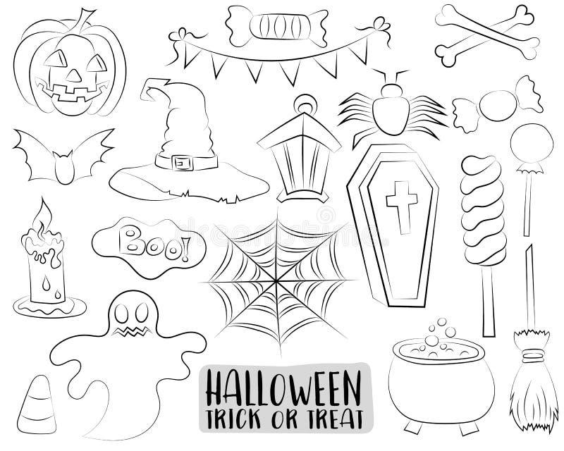 Uppsättningen av allhelgonaaftondesignbeståndsdelar och symboler i en tecknad film utformar den svartvita översikten Färga sidan, stock illustrationer