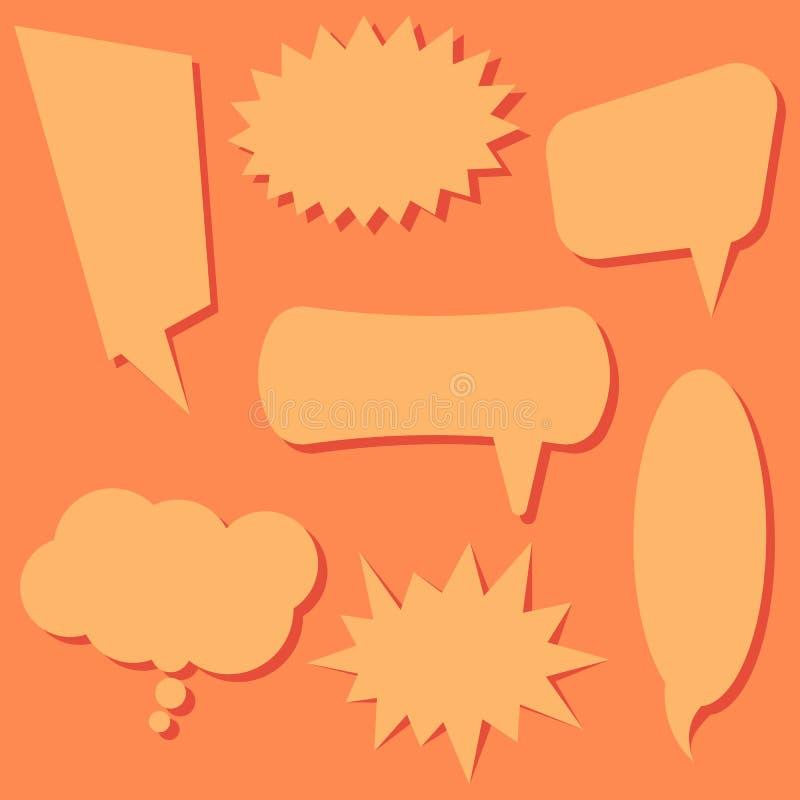 Uppsättningen av anförande bubblar på en orange bakgrund Anförande bubblar utan uttryck royaltyfri illustrationer