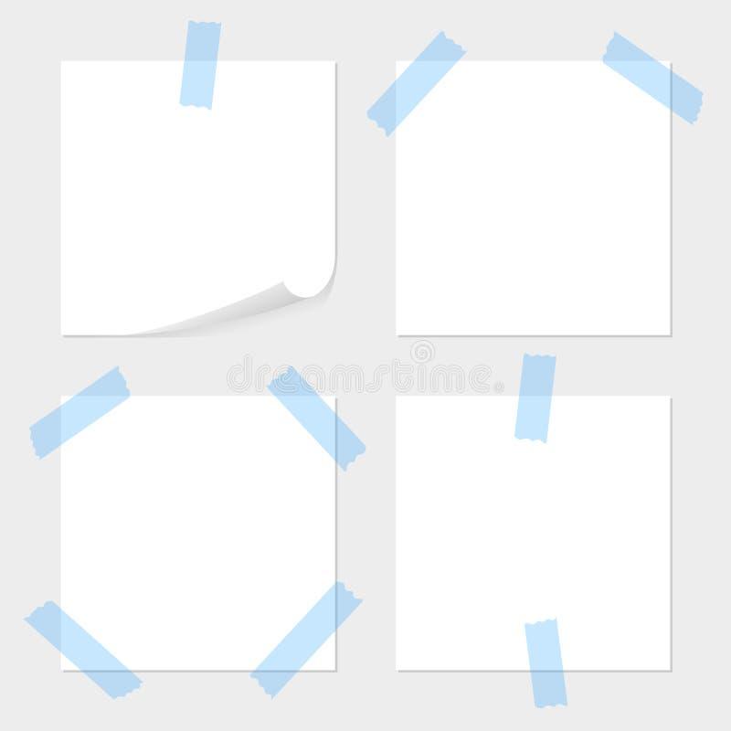 Uppsättningen av anmärkningspapper var lojal mot det blåa klibbiga bandet, tejp med utrymme för text eller meddelandet på grå bak vektor illustrationer