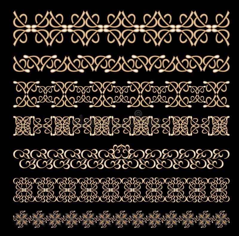 Uppsättningen av art déco utföra i relief dekorativa gränser i guld- design royaltyfri illustrationer