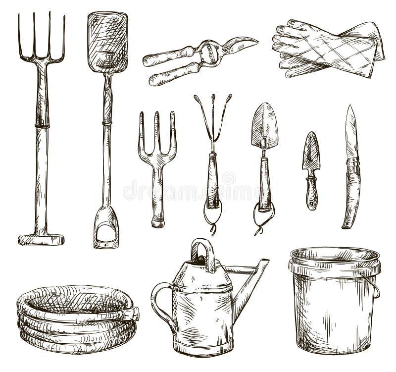 Uppsättningen av att arbeta i trädgården bearbetar teckningar, vektorillustrationer vektor illustrationer