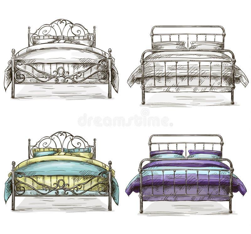 Uppsättningen av att dra för sängar skissar stil
