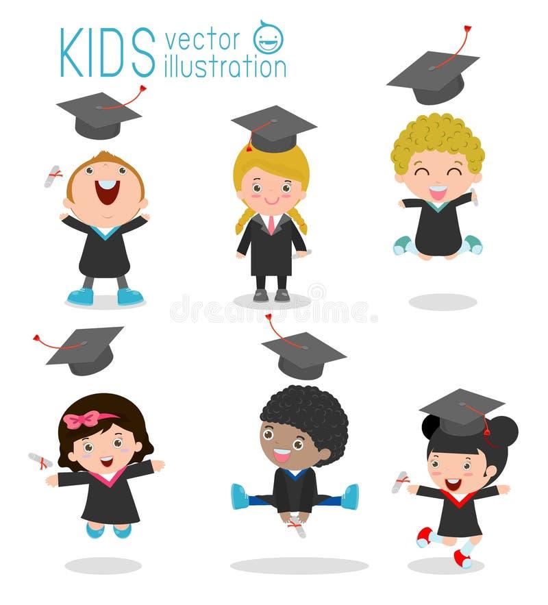 Uppsättningen av avläggande av examenungar, det lyckliga barnet avlägger examen, lyckliga ungar som hoppar, kandidater i kappor o royaltyfri illustrationer